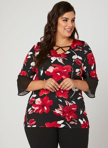 Floral Print Chiffon Sleeve Top, Black, hi-res