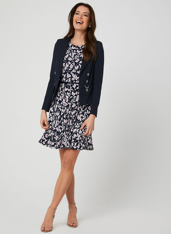Leaf Print Jersey Dress, Blue, hi-res,  belted, leaf print, fit and flare, jersey, cap sleeves, spring 2019