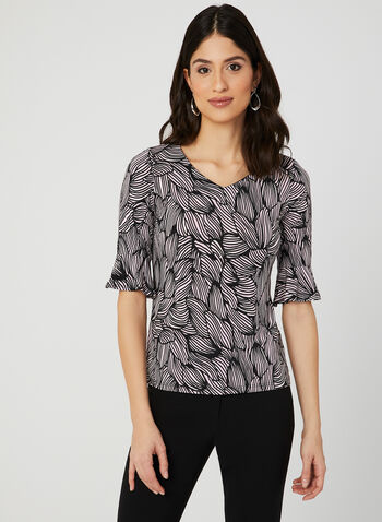 Textured Floral Print Top, Black, hi-res,