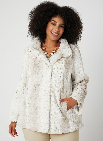 Novelti - Faux Fur Coat, Off White, hi-res,  transitional coats, faux fur, Novelti, long sleeves, made in canada, discreet pockets, button closure, fall 2019