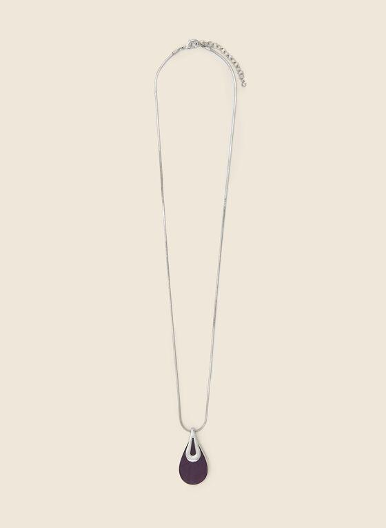 Teardrop Pendant Necklace, Purple