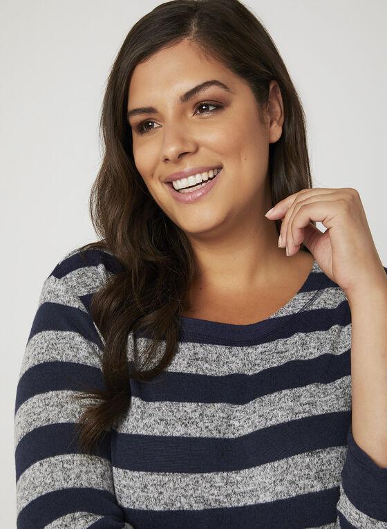 Stripe Print Sweater, Blue, hi-res