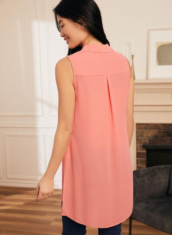 Shirt Collar Sleeveless Blouse, Orange