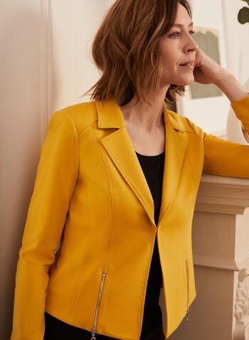 Blazer à col cranté et détails zippés, Jaune,  blazer, col cranté, manches longues, attache, surpiqûres, point de rome, épaulettes, printemps été 2021