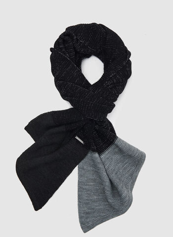 Asymmetric Knit Scarf, Black, hi-res