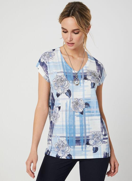 T-shirt à imprimé floral et cristaux, Bleu
