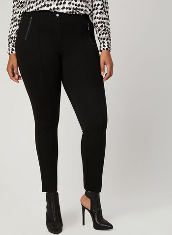 Pull-On City Fit Slim Leg Pants, Black, hi-res
