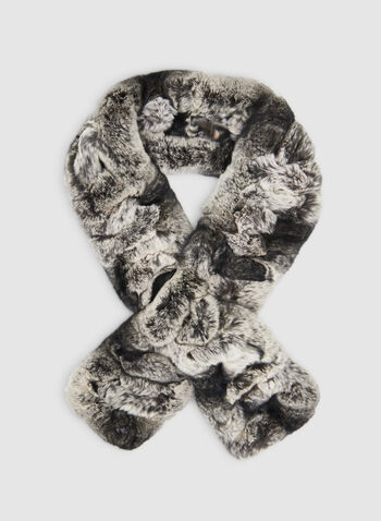Fur Scarf, Grey,  fur, scarf, oblong, ladder, infinity, fall 2019, winter 2019