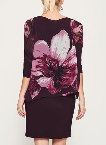 Floral Print Poncho Dress, Purple,