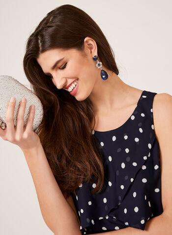 Polka Dot Chiffon Ruffle Dress, Blue, hi-res