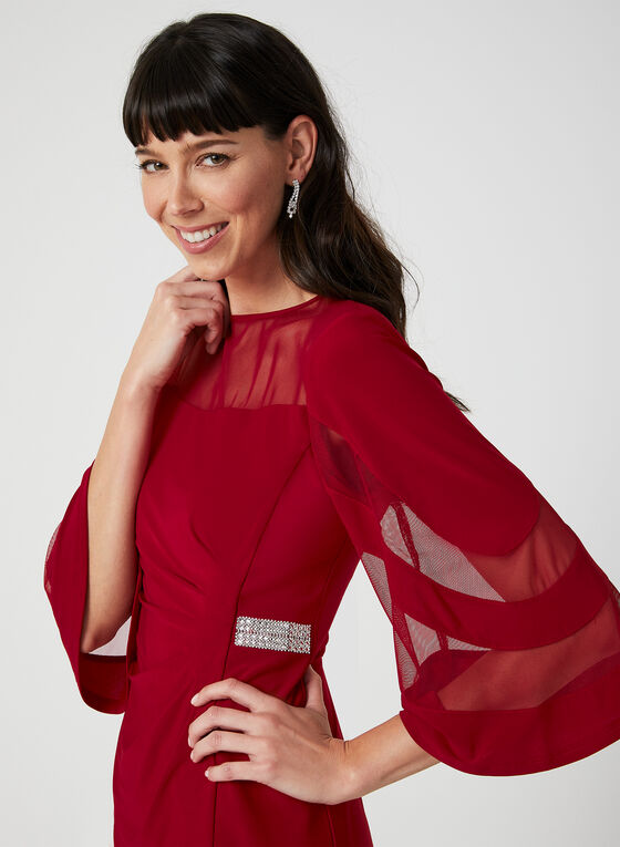 Crystal Detail Illusion Neck Dress, Red