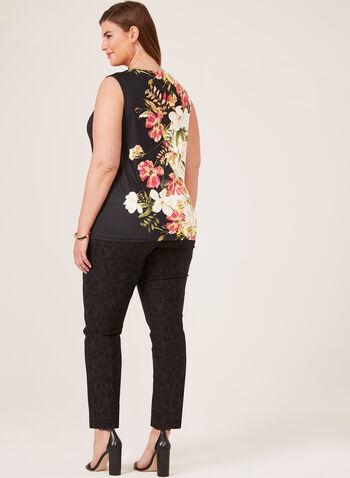 Floral Print Sleeveless Top, Black, hi-res