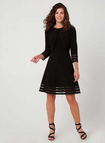 Ensemble robe et boléro à détails en maille filet, Noir, hi-res,  petite robe noir, ensemble, deux pièces, 2 pièces, ajustée et évasée, automne hiver 2019