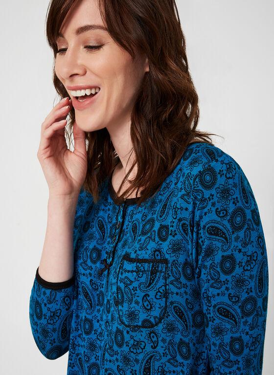 René Rofé - Chemise de nuit motif cachemire, Bleu, hi-res