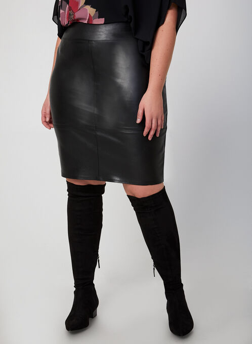 Faux Leather Pencil Skirt, Black