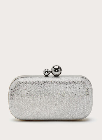 Metallic Detail Glitter Box Clutch, Silver, hi-res