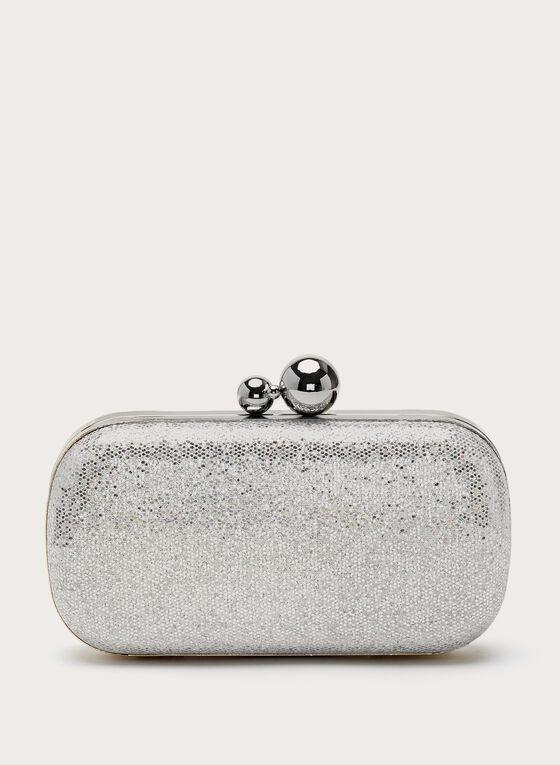 Minaudière brillante irisée avec perles métalliques, Argent, hi-res