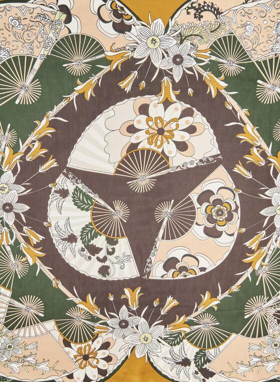 Foulard carré à motifs éventails, Jaune, hi-res