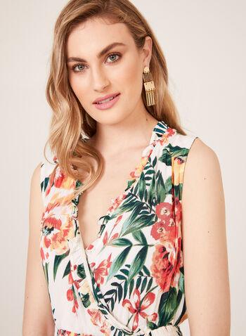 Floral Print Smocked Crinkled Dress, White, hi-res