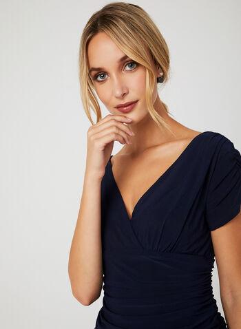 Draped Bodice Lace Party Dress, Blue, hi-res