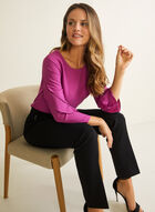 3/4 Ruffle Sleeve Blouse, Purple