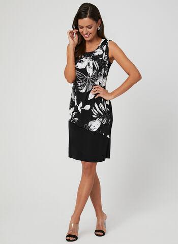 Robe à effet drapé et motif floral, Noir, hi-res,  robe de jour, drapé, sans manches, palmier, jersey, printemps 2019