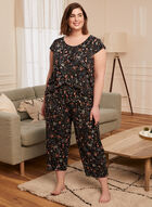 Ensemble pyjama à motif floral , Noir
