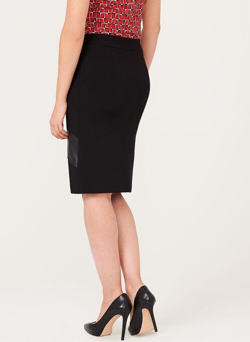 Leather Trim Pencil Skirt, Black, hi-res