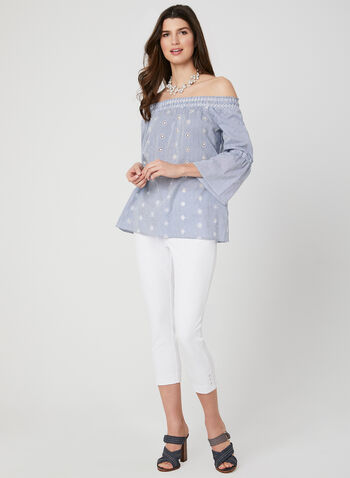 Stripe Print Off-the-Shoulder Blouse, White, hi-res,  blouse, off-the-shoulder, flared sleeves, 3/4 sleeves, spring 2019