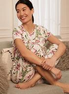 Floral Print Cropped Pyjama Pants, White