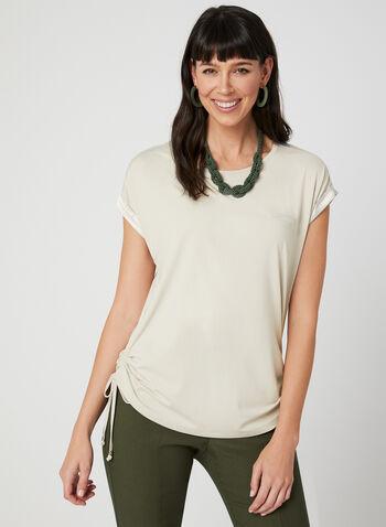 Satin Trim T-Shirt, Off White, hi-res,  t-shirt, tee, tee-shirt, viscose top, satin top, spring summer 2019