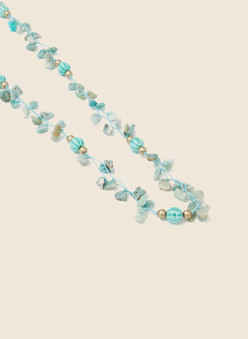 Collier long en cordon et perles, Bleu,  collier, long, cordon, perles, printemps été 2020