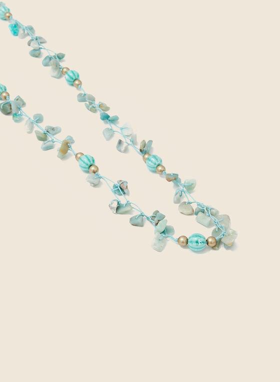 Collier long en cordon et perles, Bleu