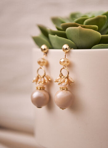 Tiered Pearl Cluster Earrings, Off White,  spring summer 2021, accessory, accessories, earrings, dangle, tiered, beaded, pearl, faceted