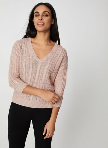 Metallic Crochet Sweater, Pink, hi-res,  3/4 sleeves, crochet sweater, sweater, v-neck, chunky sweater, metallic, fall 2019, winter 2019