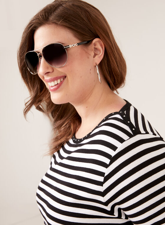 T-shirt rayé détails strass et bande contrastante, Noir, hi-res