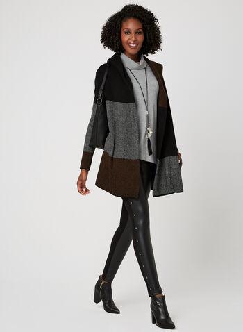 Cardigan en tricot à blocs de couleurs, Noir, hi-res