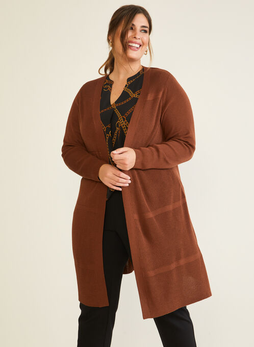 Long Knit Cardigan, Brown