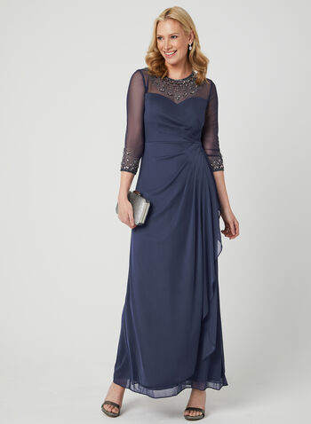 Alex Evenings - Embellished Illusion Neck Dress, Purple, hi-res