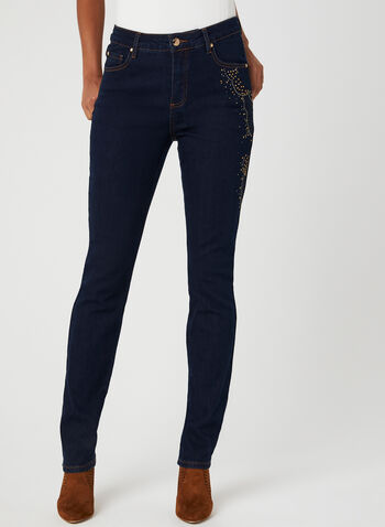 Simon Chang – Signature Fit Studded Jeans, Blue, hi-res