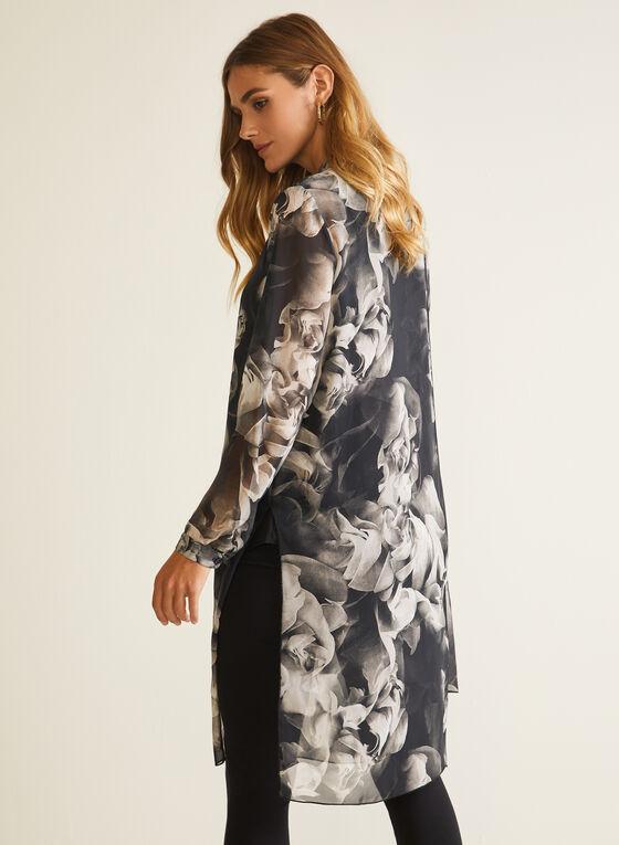 Compli K - Floral Print Button Front Tunic, Black