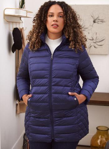 Manteau matelassé compressible à bourrure recyclée, Bleu,  manteau, vêtement d'extérieur, exclusivité laura, col montant, capuchon amovible ajustable, liens de serrage, manches longues, fermeture éclair avant, cordons de serrage, coupe flatteuse, poches, bouton pression, doublure sofeelate, polyester recyclé, matelassé iridescent, résistant au vent, résistant à l'eau, léger, compressible, sac de rangement inclus, automne hiver 2021
