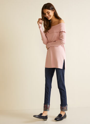 Cold Shoulder Knit Tunic, Pink,  tunic, knit, sweater, off the shoulder, long sleeves, fall winter 2020