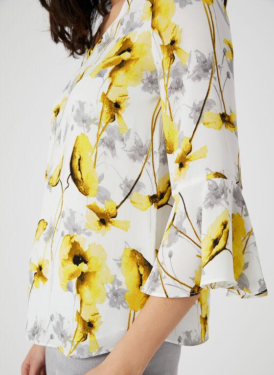 Blouse florale à manches cloche ¾, Jaune