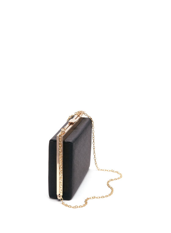 Rectangle Metal Frame Clutch, Black, hi-res