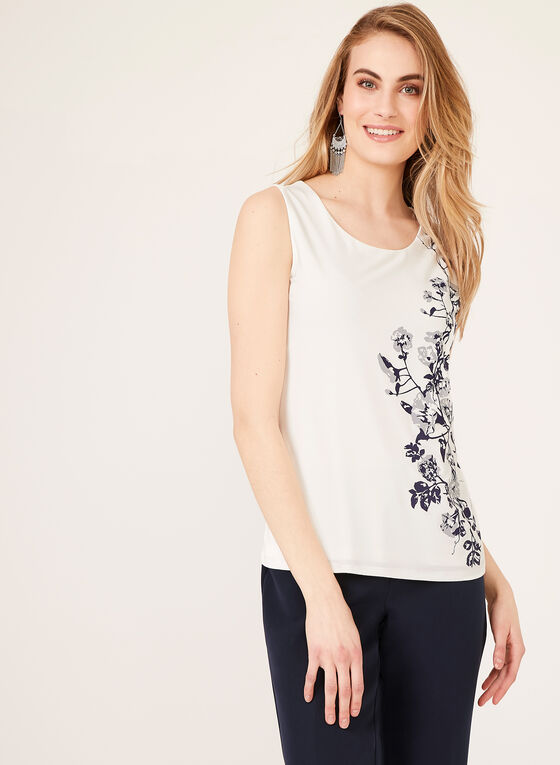 Sleeveless Floral Print Blouse, Off White, hi-res