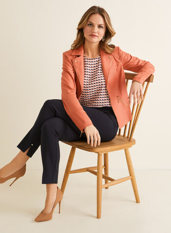 Faux Suede Open Front Blazer, Orange,  blazer, faux suede, open front, notched collar, zipper,