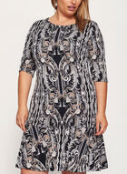 Paisley Print Ruffle Hem Dress, Brown, hi-res