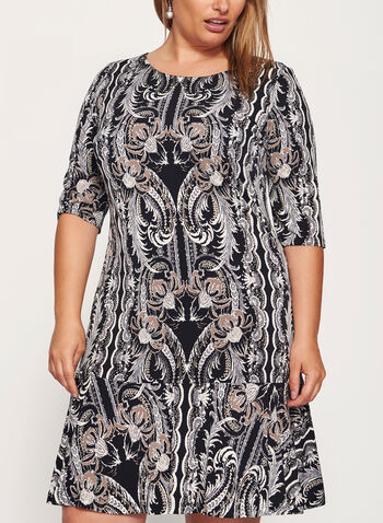 Paisley Print Ruffle Hem Dress, , hi-res