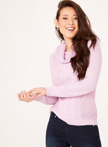 Cowl Neck Knit Sweater, Purple, hi-res